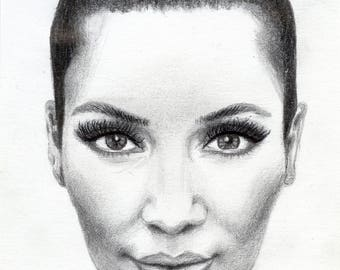 Kim Kardashian Wearing Chanel Necklace Pencil, Charcoal & Digital Glamour Illustration