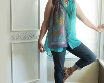 High low sheer tunic top, scarf accent, aqua, summer top, boho top, ooak sleeveless top, size medium large, upcycled clothing, feather print