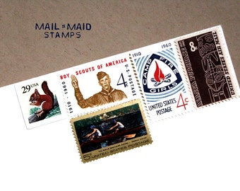 Around the campfire || Set of unused vintage postage to mail 6 standard letters