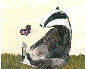 A4 Badger Wall Hanging. Black & White Badger. For Nursery Forest Animals Art, Children's Badger Animal Art. A Woodland Badger Gift.