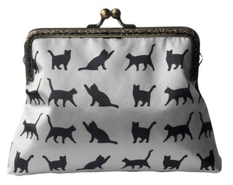 Black and White Black Cats Parade Antique Bronze Sew in Clasp Frame Clutch Purse Evening Bag