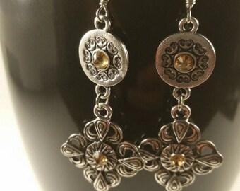 Silver & Brown Rhinestone Earrings