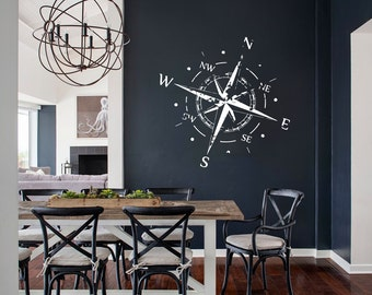 Compass Wall Decal Nautical Decor Bedroom Art - x327