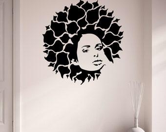 Bloom Leaves Afro Vinyl Wall Art Sticker Decal Living Room Bedroom Hallway Teenage Girls