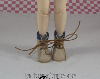 Brown and Blue leather Boots for Blythe doll - boots Brown and blue skin for Blythe