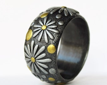 Polymer Clay Jewelry Bracelet Bangle Wide Flower Daisy Floral Pattern Summer Exclusive Сhamomile Polymer Clay Bracelet Bangle Birthday Gift