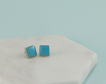 Stud Earrings | Sterling Silver Earrings | Silver Earrings | Blue Earrings | Sterling Silver Studs | Gift for Her | Square Studs | Studs