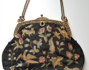 Art nouveau vintage French Aubusson Tapestry bag with ornate golden frame