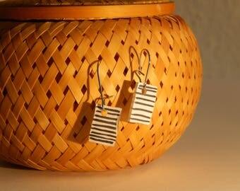 striped earrings black white shrink foil striped earrings black and white made of shrink