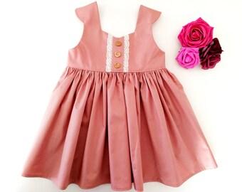 Plain pink baby dress, baby girl first birthday dress, birthday girl outfit, pink birthday dress, first birthday girl, girls clothing