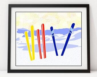 SkiIsh: Giclee Print, Art Print, Ski, Skiing, Wall Decor, Wall Art Pop Art Winter