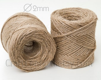 Natural jute twine 2mm Jute cord Natural String Plain twine Jute string Gift wrapping  Gift tag string Craft twine Gift wrap / 10 meters
