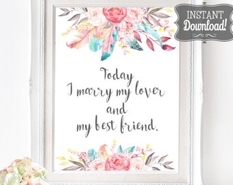 Lover & Best Friend Wedding Poster - INSTANT DOWNLOAD - Printable Wedding Sign , Wedding Decoration, Ceremony Poster, Reception Poster, Art