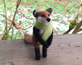 Needle Felted Fox Sculpture | with Scarf