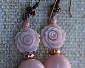 Carved Shell and Glass earrings | Pink Rose earrings | Carved Flower | Swarovski Pearl