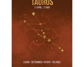 Birthday Card - Taurus Star Sign Astrology Zodiac Brown Blank Card CP3170