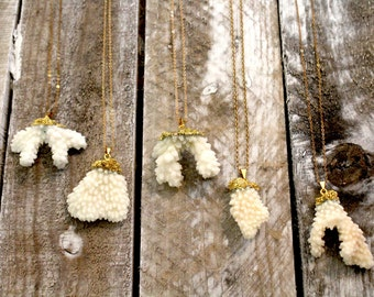 Natural White Sea Coral Necklace dipped in 24K Gold leaf with 24k Gold Plated Chain