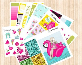 AP049 Hello summer weekly kit planner stickers erin condren happy planner