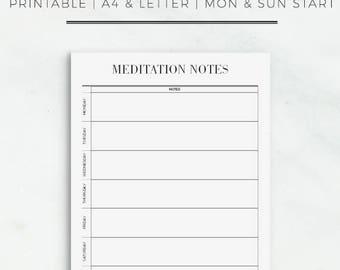 Meditation Notes | Printable Meditation Notes | Meditation Printable Sheet | Meditation Note Sheet | Mindfulness Planner Insert | Meditation