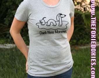 DACH NESS MONSTER Heather Grey T Shirt, Doxie, Doxies, Weiner Dog, Loch Ness Monster, Doxie Lover, Wiener Dog, Sausage Dog, Doxie Shirt