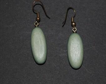 Vintage Green Wooden Drop Earrings