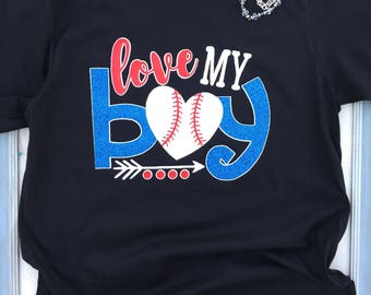 Love my Baseball Boy Shirt, Baseball Shirt, Baseball Mom Shirt, Love My Boy Shirt, Baseball Grandma Shirt, Baseball Mama Shirt, Baseball Fan