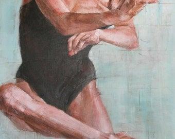 Acrylic painting, original canvas painting, contemporary ballerina painting