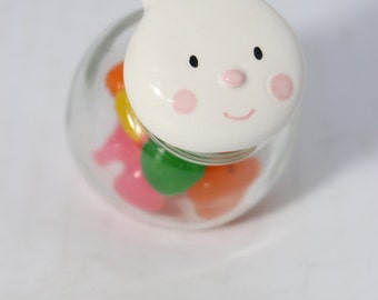 Miniature Glass Jar with Porcelain Bunny Head Lid Air Tight / Easter Candy Surprise Jar