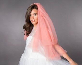 Pink tulle wedding veil with blusher / elbow length wedding veil / bridal veils / Rasbery Pavlova bridal separates / customisable veils