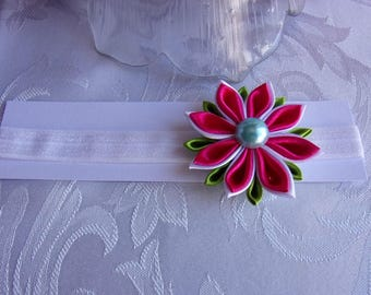 Headband baby with girl in satin white, pink and green/flower kanzashi flower/headband