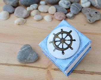 Wood wedding ring box, engagement proposal ring box, beach wedding, personalized ring box, ring holder bearer, romantic little gift nautical