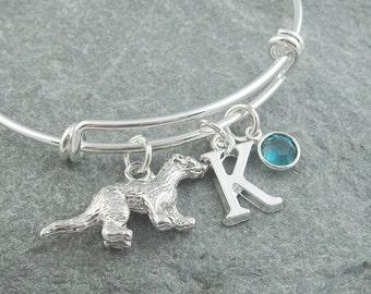 Otter bracelet, silver otter charm, otter jewelry, initial bracelet, adjustable bangle, swarovski birthstone, personalized jewelry, animal