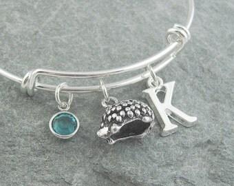Hedgehog bracelet, silver hedgehog, hedgehog jewelry, initial bracelet, swarovski birthstone, personalized jewelry, silver bangle, monogram