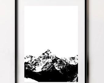 Mountain Print, Black and White Print, Mountain Scape, Mountain Wall Art, Wall Art