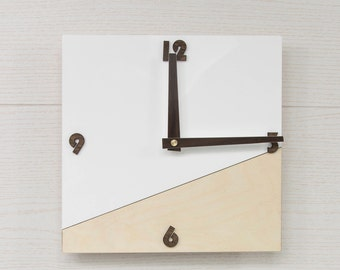 Modern wall clock - White wall clock - Square wall clock - Wooden wall clock - Organic glass clock - Scandinavian clock - Office clock
