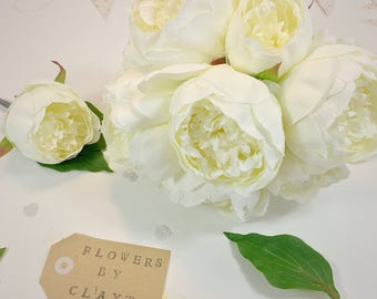 Faux Peony Wedding Bouquet - Brides Bouquet, Wedding Flower Set, White Flowers, Bridal, Silk, Artificial - 1009