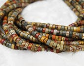 "Genuine Picasso Jasper Smooth Heishi Loose Beads Size 3x6mm/3x8mm 15.5"" Long Per Strand.I-RHY-0416"