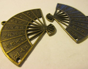 "Antique Brass Metal Japanese Fan Pendant Bead, 2 1/4"", Set of 2"