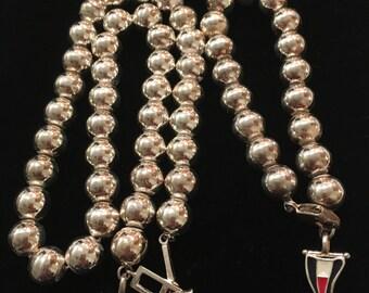 Silver Beaded Necklace & Bracelet Set ~ Nautical