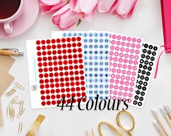 Date Cover Planner Stickers - Erin Condren, Kikki K, Filofax, Happy Planner, Project Life, Kate Spade / Date Dots / Number stickers