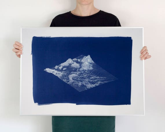 Digital Mountain Landscape Render, Large Cyanotype Print, 50x70 cm (Limited Edition)