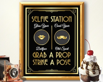 Photo booth, photo booth sign, selfie station sign, grab a prop and strike a pose sign, art deco photo booth, great gatsby photo booth sign