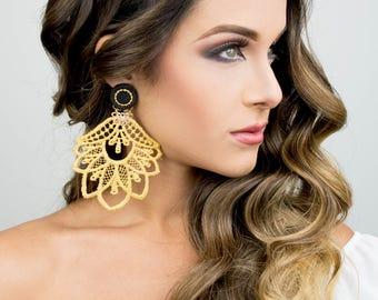 Drop Dangle Earrings, Gold Chandelier Earrings, Handmade Earrings, Gold Statement Earrings, Fashion Earrings, Big Earrings, Bridal Earrings