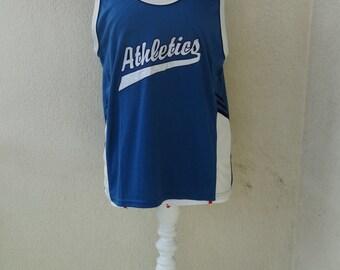 Mens althletic tank top New Balance vintage basketball t-shirt cotton mix mens sleeveless tee blue vintage 1990s size L