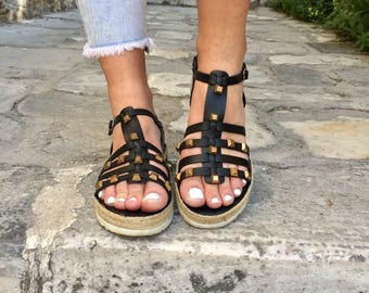 Black Leather Sandals, Black Sandals, Greek Sandals, Flat Sandals, Made in Greece from 100% Genuine Leather by Christina Christi Jewels.