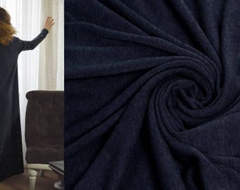 NAVY BLUE Italian Wool Fabric by the Yard Knitted Angora Tricot Viscose Jersey Sweater Knit Mediumweight Soft Natural Luxury Textile DIY