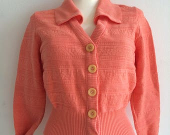 Bright salmon fitted textured cardigan