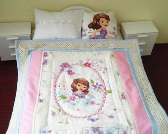 Cabbage Patch bed, doll furniture, doll bedding, princess Sofia, wooden doll bed, american girl doll furniture, wooden doll bed, doll beds