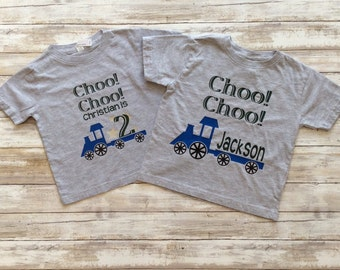 Train Birthday Shirt Package, Choo Choo is two, Birthday Party Shirt Package, Train Party Favors, Train Theme Birthday Party, Train Birthday