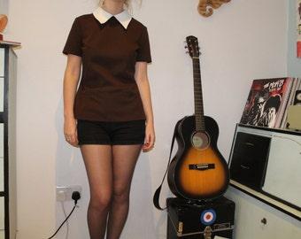 Vintage 1960's/70's Brown Peter Pan Collar Women's Shirt (Size 8 - 10 (UK))